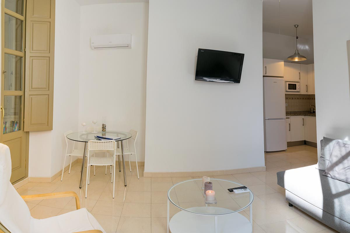 Vista de la TV y parte del salón del apartamento turístico MALAMA B2 en el centro de Málaga