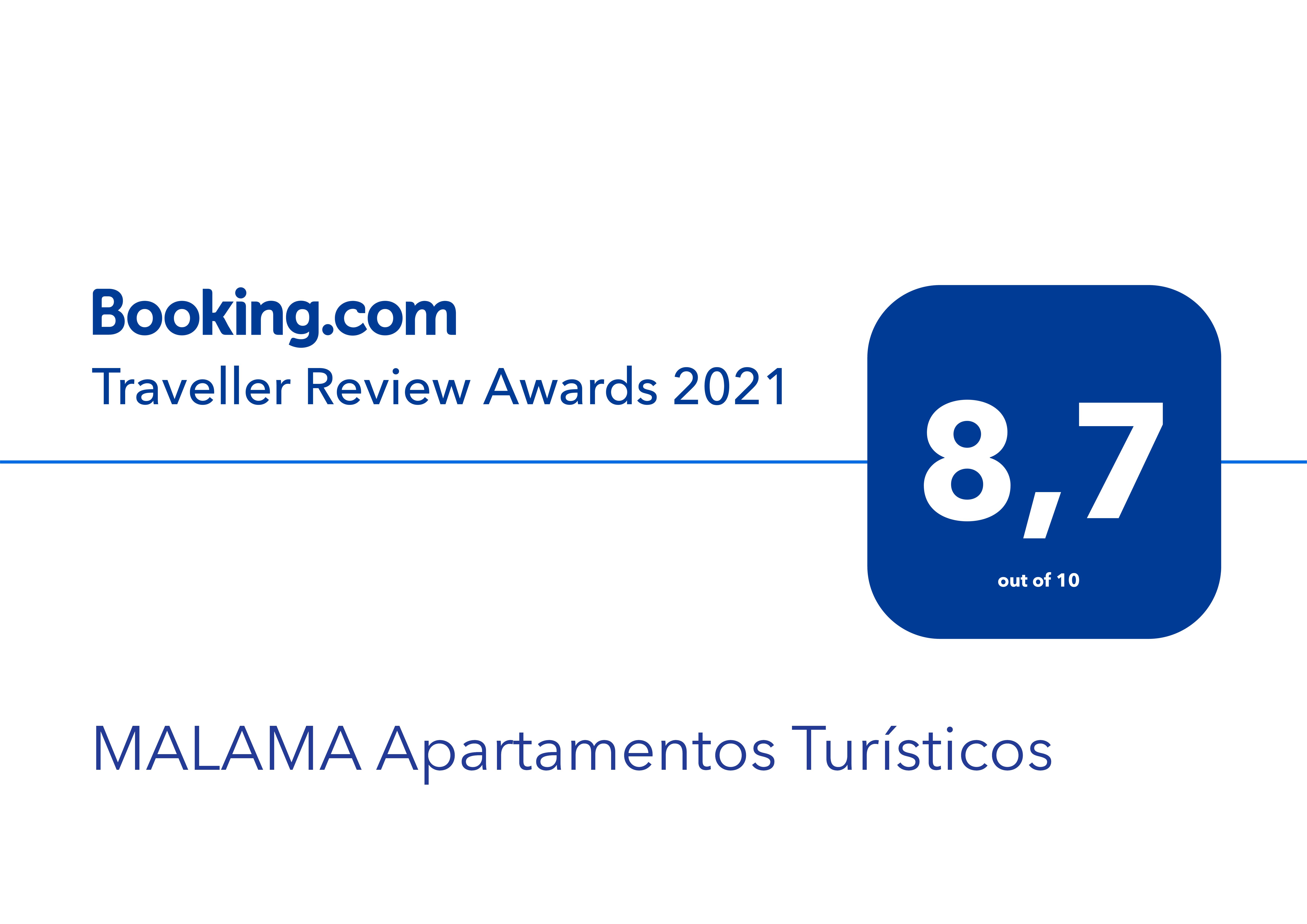 Premio de booking 2021 para los apartamentos turísticos MALAMA en el centro de Málaga. Fondo blanco