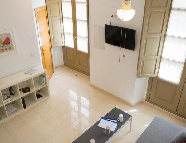 Vista aérea del salón del apartamento MALAMA A1 en el centro de Málaga